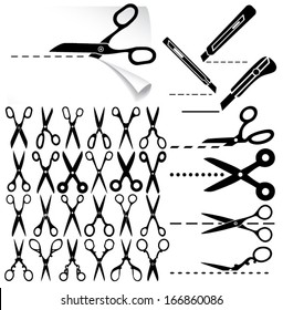 Set of modern and decorative old scissors icons, box cutter knife, dashed lines. Cut here. Vector illustration.