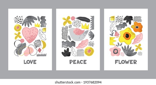 Set of modern decorative posters with symbols of nature, beauty in yellow, gray, pink colors isolated on white. Collection of contemporary abstract backgrounds template. Cartoon vector illustration.