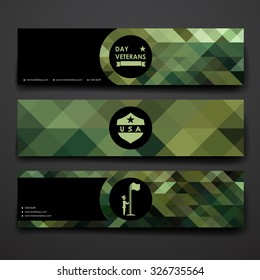 Set of modern design banner template in veterans day style. Beautiful design and layout