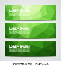 Set of modern design banners template with abstract green geometric pattern background