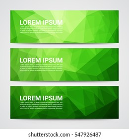 Set of modern design banners template with abstract green geometric pattern background.