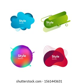 Set of modern design colored elements. Dynamical colored forms. Gradient banners with flowing liquid shapes. Template for design of logo, flyer or presentation. Vector illustration