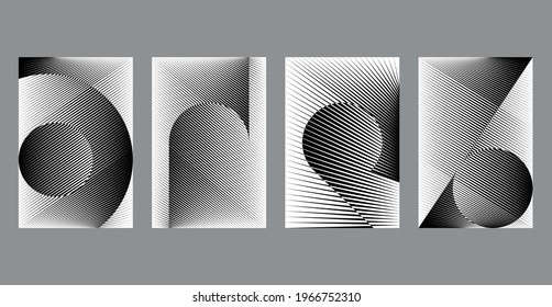 Set of modern design templates for card, cover, poster, banner, flyer, halftone lines black and white backgrounds, minimal geometric dynamic patterns.