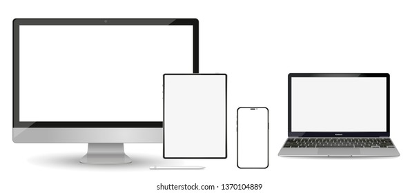 Set of modern devices mockups with blank frameless screens: monitor, laptop, tablet computer phone. Vector illustration