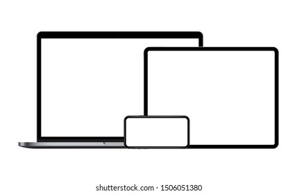 Set of modern devices mockups with blank screens: laptop, tablet computer, smartphone. Vector illustration