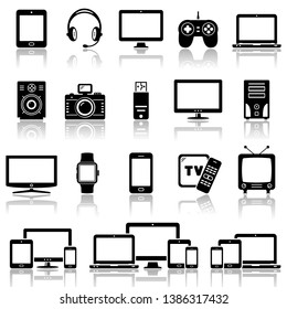 Set of Modern Digital devices icons set