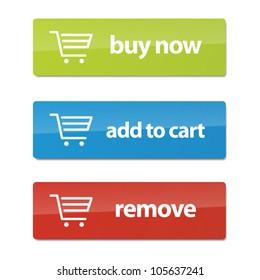 Set von modernen E-Commerce-Buttons und Icons.