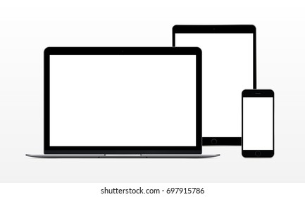 Set of modern electronic Apple devices - laptop computer, tablet, phone. Mockup to showcase web-site design. Vector illustration