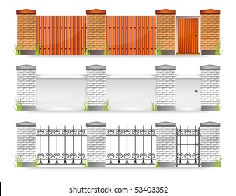 Set of modern fences with gate and grass, vector illustration