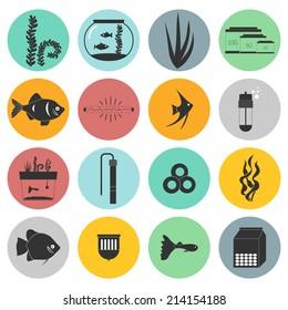Set of modern flat aquarium icons - fish tanks, fish types, aquarium plants and decor. Aquarium supplies, maintenance, starter kit symbols. Pet shop illustration.