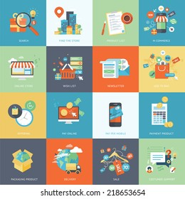 Set of modern flat design concept icons for online shopping. Icons for websites, print templates, presentation templates, promotional materials, infographics, web and mobile phone services and apps.