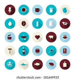 Set of modern flat design icons for food and drink. Icons for coffee, milk, meat, wine, seafood, for restaurant and food producer.