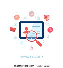 Set of modern flat design icons on the topic of online security, privacy protection and data safety. Spying computer bug under investigation lens on the user personal profile vector illustration.