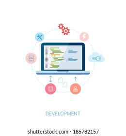 Set of modern flat design icons for application development or software app programming. Web, database, software development.