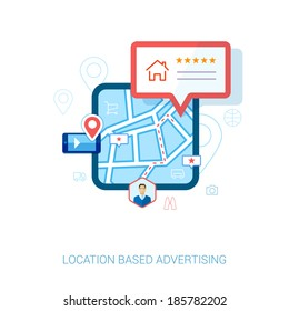 Set of modern flat design icons for mobile or smartphone location based advertising. Place check-in, hotel, restaurant, contact,l rating and context ads concept vector illustration.