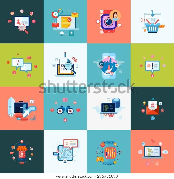 Set Modern Flat Design Icons Application Stock Vector Royalty Free 295751093