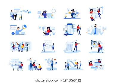Set von modernen flachen Design-Menschen Symbole der Business-Analyse und Planung, Video und Konferenz-Call, Business-App, Seo, Marktforschung, Online-Unterstützung, Buchhaltung, Datenanalyse, Teamwork.