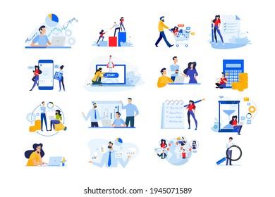 Set von modernen flachen Design Menschen Symbole. Vektorgrafik-Konzepte des Startup, Zeitmanagement, Social Network, E-Commerce, Datenanalyse, Marktforschung, Geschäftspräsentation, Finanzen, Marketing