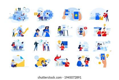 Set von modernen flachen Design Menschen Symbole der Start-up, Projektentwicklung, Geschäftsstrategie und Analyse, soziale Medien, Internet-Marketing, E-Banking, Programmierung, Cloud-Datenspeicherung.