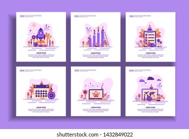 Set of modern flat design templates for Business, startup, teamwork, salary, schedule, security, target. Easy to edit and customize. Modern Vector illustration concepts for business