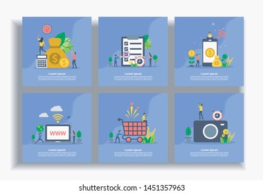 Set of modern flat design templates for Business, Money, report, mobile banking, domain, shopping, photography. Easy to edit and customize. Modern Vector illustration concepts for business