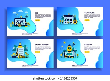 Set of modern flat design templates for Business, seo, schedule, salary payment, startup. Easy to edit and customize. Modern Vector illustration concepts for business