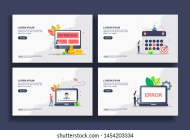 Set of modern flat design templates for Business, pay per click, schedule, video chat, page error. Easy to edit and customize. Modern Vector illustration concepts for business