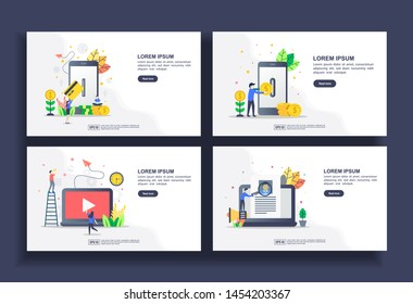 Set of modern flat design templates for Business, mobile payment, internet banking, multimedia, recruitment. Easy to edit and customize. Modern Vector illustration concepts for business