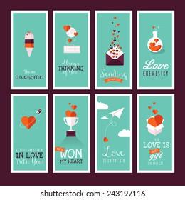 Set of modern flat design Valentines day greeting cards
