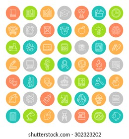 Set of modern flat line colorful round vector icons of school subjects, activities, education, science symbols. Concepts for web site, mobile or computer apps, infographics, presentations, promotion