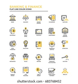 Set of Modern Flat Line icon Concept of Banking and Finance, Investment, Value, Online Banking, etc. use in Web Project and Applications. Vector Illustration