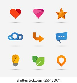 Set of modern flat paper icons or logo elements. Heart and leaf, abstract form. Vector illustration