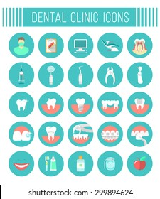 Set of modern flat vector conceptual icons of dental clinic services, stomatology, dentistry, orthodontics, oral health care and hygiene, tooth restoration, instruments and tools