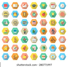 Set of modern flat vector icons of school subjects, activities, education and science symbols in colorful hexagons with long shadows. Concepts for web site, mobile or computer apps, info graphics