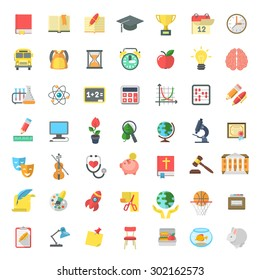 Set of modern flat vector icons of school subjects, activities, education and science symbols isolated on white. Concepts for website, web services, apps, infographics, promotional printed materials