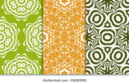 set of modern floral geometric ornament. Seamless vector illustration. For interior design, wallpaper