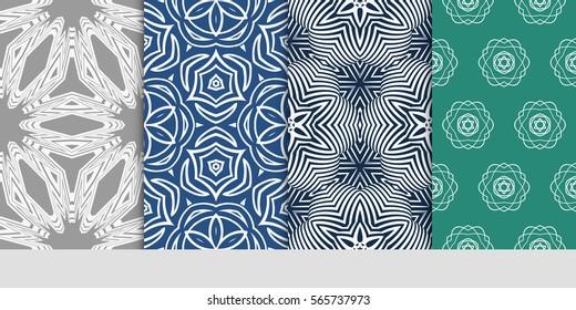 set of modern floral pattern of geometric ornament. Seamless vector illustration. for interior design, printing, wallpaper.