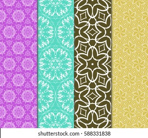 set of modern floral pattern of geometric ornament. Seamless vector illustration. for interior design, printing, wallpaper, decor, fabric, invitation.