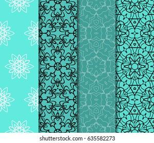 set of modern floral pattern of geometric ornament. Seamless vector illustration