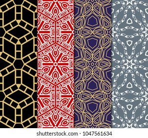 set of modern floral seamless pattern art deco background. Luxury texture for wallpaper, invitation. Vector illustration.