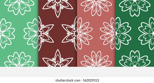 set of modern floral seamless pattern background. Luxury texture for wallpaper, invitation. Vector illustration. color.