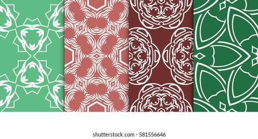 set of modern floral seamless pattern background. Luxury texture for wallpaper, invitation. Vector illustration.
