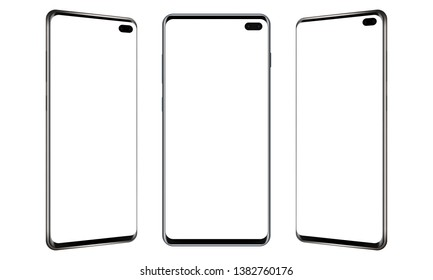 Set of modern frameless mobile phones mockups with blank screens. Vector illustration