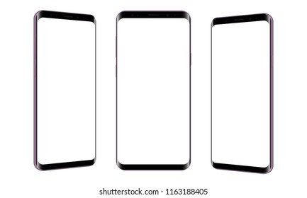 Set of modern frameless smartphones isolated on white background. Cellphones with front and side views. Vector illustration