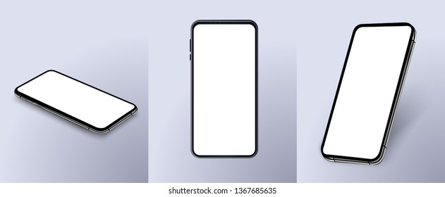 Set of modern frameless smartphones isolated on white background. Side and top and isometric view. Mockup generic device. Vector illustration