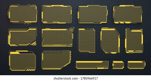 A set of modern frames, callouts for user menu interface elements in futuristic HUD style. Good for game UI/UX. Information box bars and modern digital info frame layout templates. Vector Illustration
