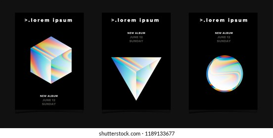 Set of modern futuristic posters with holographic geometric figures for music event. Vaporwave/ synthwave style.