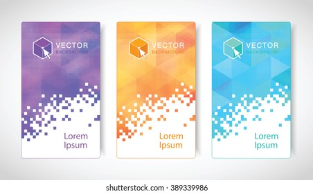 Set of modern geometric banners with polygonal background. Vector illustration