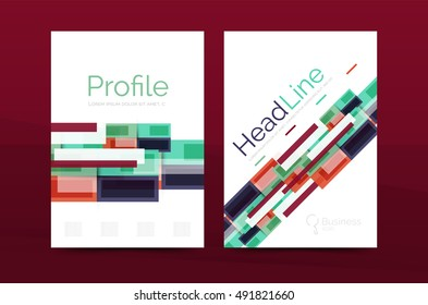 set modern geometric business annual report stock illustration