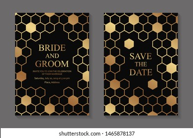 Set of modern geometric luxury wedding invitation design or card templates for business or presentation or greeting with golden honeycombs on a black background.